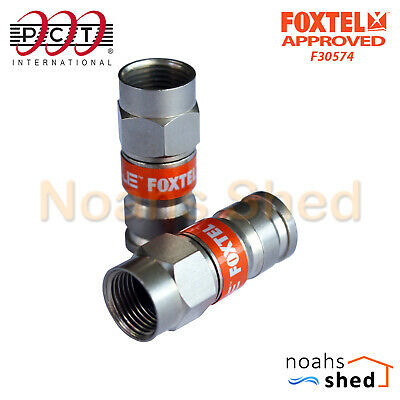 10 x PCT RG6 Coax Cable Compression Connector F Type Foxtel Approved PCT-TRSF-6L