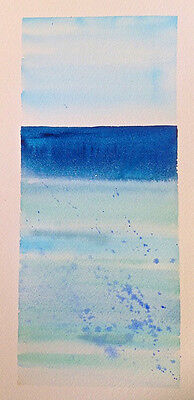 HAND painted WATERCOLOUR artist PICTURE card SERENITY calm PEACE ocean SEA blues