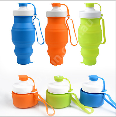 Foldable Soft Silicone Water Bottle Reusable Collapsible Climbing Travel 520ml
