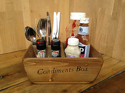 Newquay Wooden Condiment & Cutlery Box/Holder,Restaurants/Cafe/Pubs,Your Logo