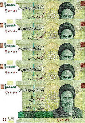 Lot IR, 5  x  100000 (100,000) Rials UNC ND (2010) P-151 Khomeini Currency