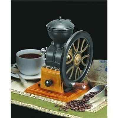 NEW! Manual Cast Iron Coffee Bean Grinder Crank Hand Grinding Wheel Vintage Wood
