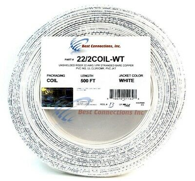 22 Gauge 2 Conductor 500 Feet White Stranded Copper Security Alarm Wire Cable UL