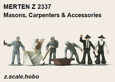 Merten 2337 Z Scale Masons Carpenters Workers Accessories Figures *NEW $0 SHIP