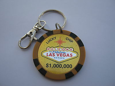 Las Vegas Casino Poker Chip keychain $1M (Lucky Chip)