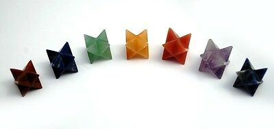 7 Pcs Chakra Merkaba Star Set Reiki Healing Gemstones Geometry Platonic 626