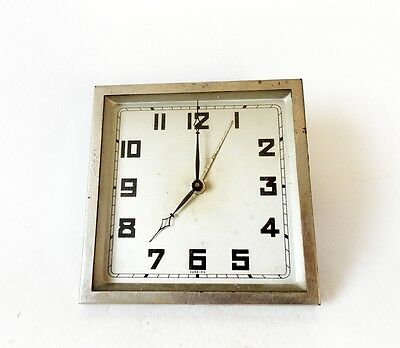 Vintage 1930s FOREIGN Art Deco Alarm clock Chromed Table Desk Watch Collectible