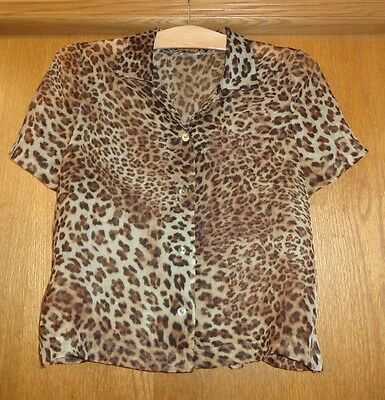 Woman's sz M - Sheer Crinkle Leopard Print BLOUSE - No labels - excellent cond
