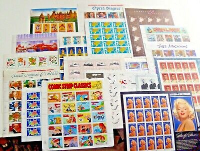 Five (5) Sheets x 20 Assorted Mixed Designs of 32¢ US Postage Stamps. FV $32.00
