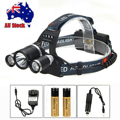 5000Lm CREE XM-L T6 LED Rechargeable Head Torch Headlamp Headlight 18650 Charger