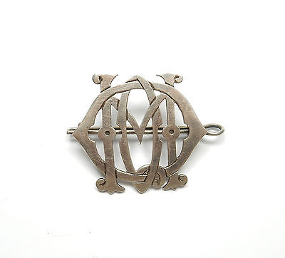 Rare Antique Victorian Sterling Silver ENTWINED LARGE INITIAL BROOCH 11.6g