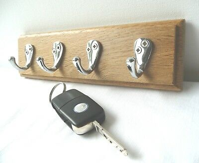 Vintage Style Wall Key Rack Solid Oak Chrome On Brass Hooks Handmade.
