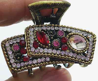 New Ruby Red Crystal & Rhinestone Antique Gold Cluster 1 1/2'' Hair Claw