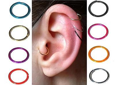 Sterling Silver Cartilage Earring Tragus Nose Ring Eyebrow Ear Hoop Piercing