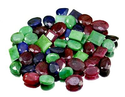 460ct / 50pcs Natural Emerald Sapphire Ruby Ring Size Gemstone Wholesale Lot