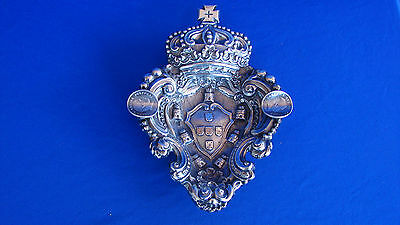 Portuguese Coat Of Arms 833 Silver Sterling Repousse Tray Dish 220.4 Grams