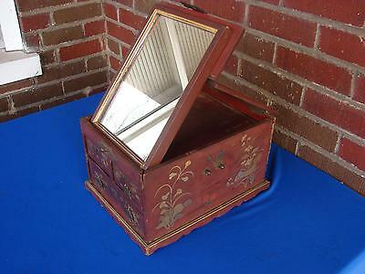 Antique? Chinese Lacquer Jewelry Or Vanity Box With Folding Mirror
