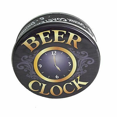 Beer O'Clock COASTERS Cork backing Non-slip Glass BBQ Bar Mats Man Cave