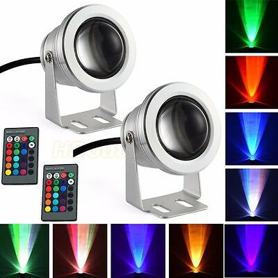 2 X 12V 10W RGB LED Outdoor Flood light 16 Color Changing Garden Lamp Waterproof
