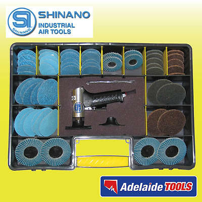 "Shinano 55 Piece 2"" & 3"" Pneumatic Surface Preparation Mini Roloc Sander Kit"