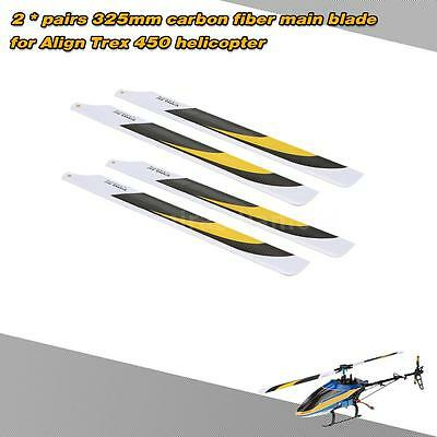 2Pairs Carbon Fiber 325mm Main Blades fr Align Trex Electric 450 Helicopter 1LH4