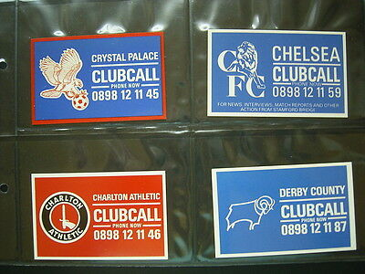 1980s ClubCall Football Clubs Cards Set of 25  Sleeved (e7)