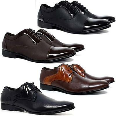 Mens Faux Leather Shoes Smart Wedding Italian Formal Office Dress Gatsby Shoes