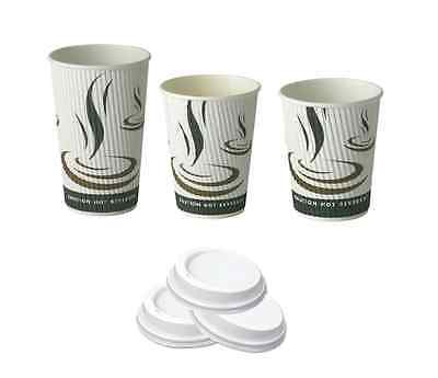 Weave Double-Walled Takeaway Paper Cups & Sip-Thru Lids (8oz/12oz/16oz)