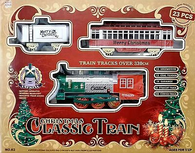New Classic Christmas Train Set 23 Piece With Real Sound  & Headlight uk