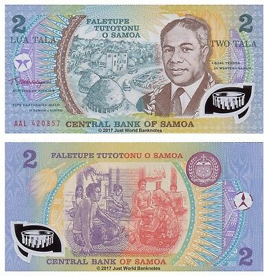 Samoa 2 Tala ND (1990) Polymer P-31e Mint UNC Uncirculated Banknotes