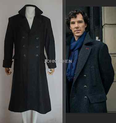 Sherlock Holmes Woolen Trench Coat Jacket Cape Robe Cosplay Costume Custom Made