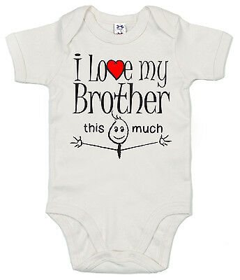 """Funny Baby Bodysuit """"I Love My Brother This Much"""" Babygrow Boy Girl Clothes Gift"""
