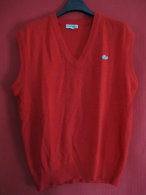d7a624904a Pull LACOSTE Sans manche Tim SA Rouge Tennis Homme Vintage Made in France -  4