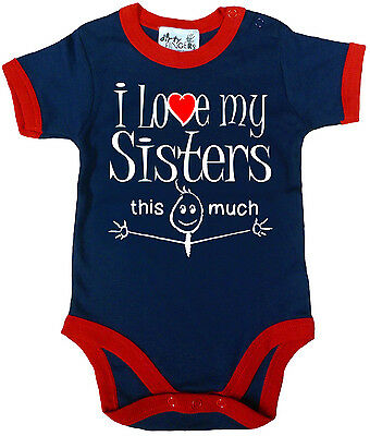 "Funny Baby Bodysuit ""I Love My Sisters this Much"" Trimmed Babygrow Newborn Gift"