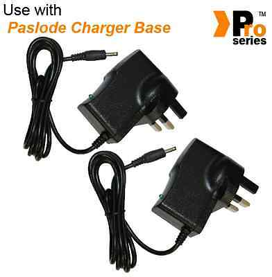 2 x QUALITY REPLACEMENT.. AC/DC UK MAINS ADAPTER. FOR PASLODE CHARGER BASE