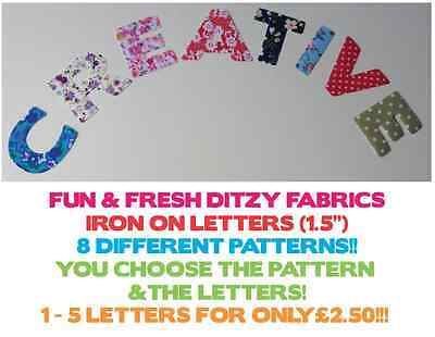 """*NEW* ROSE /& HUBBLE 1.5/"""" Cotton Lawn Fabric Iron On Letters MULTI LISTING"""