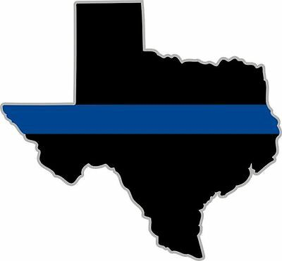 "Thin Blue Line State of Texas Decal WITH SILVER OUTLINE 4"" x 4.3"" REFLECTIVE"