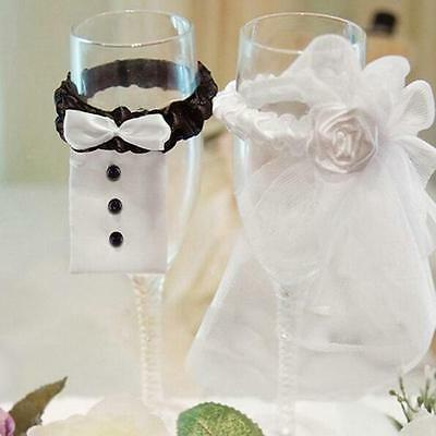 Practical Bride & Groom Wedding Wine Glass Champagne Glass Cup Cover Decoration