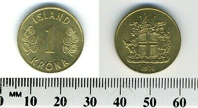 Iceland 1970 - 1 Krona Nickel-Brass Coin - Shield with supporters