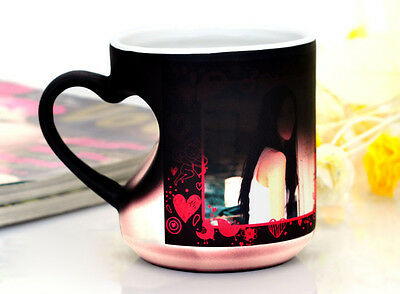 custom personalized magic cup mug with picture/image color changing heart holder