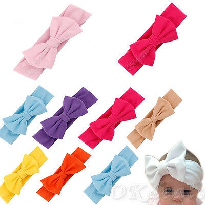 Girl Kid Baby Stretch Cotton Bowknot Hairband Headband Turban Knot Head Wrap Lot
