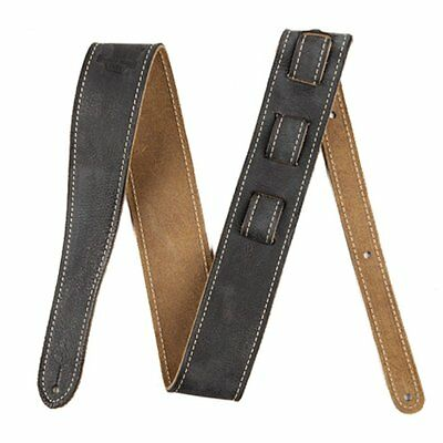 Fender Road Worn Black Soft Distressed Leather Guitar Bass Strap Adjustable