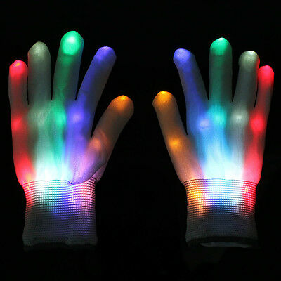 Multi-Color Electro LED Flashing Gloves Light Up Halloween Dance Rave Party Hot