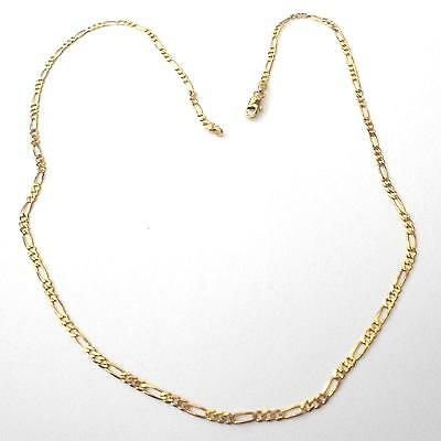 Collier Chaine Figaro  Homme  Femme Plaque' Or - 54 Cm - 353 W