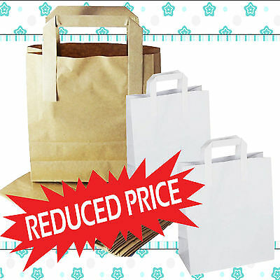 Kraft Paper SOS Carrier Bags Brown or White with Flat Handles / Takeaway / Gifts
