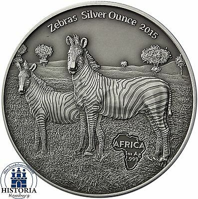 Africa Series 2015: Congo 1000 Francs Zebra with Young Animal Silver Ounce