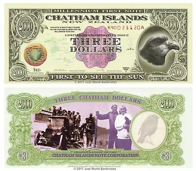 Chatham Islands 3 Dollars 1999 Polymer Mint UNC Banknotes