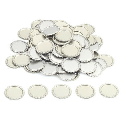 "100 pcs FLAT 1"" CHROME SILVER BOTTLE CAPS LINERLESS Flattened No Liners"