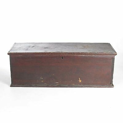 Antique primitive 19th c pine blanket box chest trunk wooden painted dovetailed