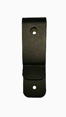 (2) TWO PACK, 607BP Black steel holster belt clip with two through holes